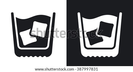 Glass of whiskey with ice, vector icon. Two-tone version on black and white background - stock vector