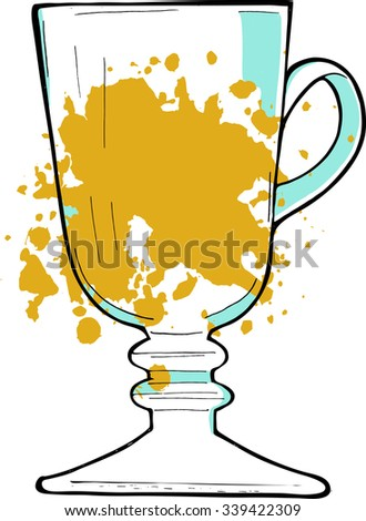 Glass of white wine or mulled wine or juice drawn by ink. Hand drawn vector illustration. - stock vector
