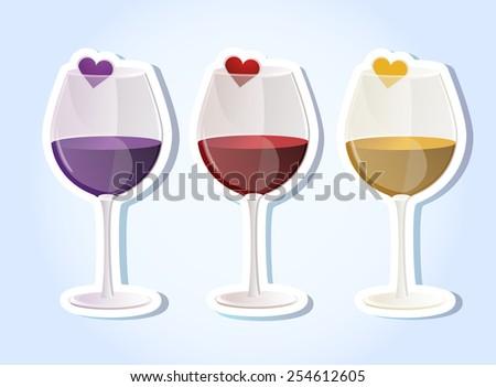 Glass of wine, sticker - stock vector
