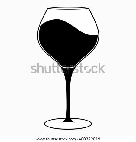 Glass of wine, vector icon - stock vector