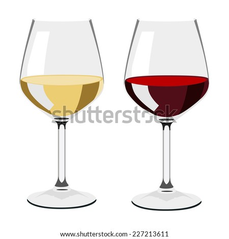 Glass of wine, wine glass isolated, white wine glass, glass set - stock vector