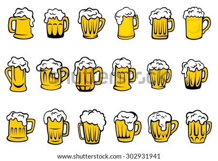 Glass or ceramic mugs and tankards filled of golden light beer with overflowing froth heads isolated on white background, for brewery emblem or beer party design - stock vector