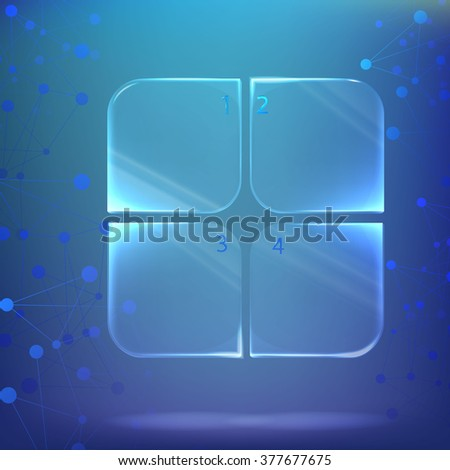 glass / plastic square with rounded corners, the plate with numbers under water on a background of chemical \ biological compounds - stock vector