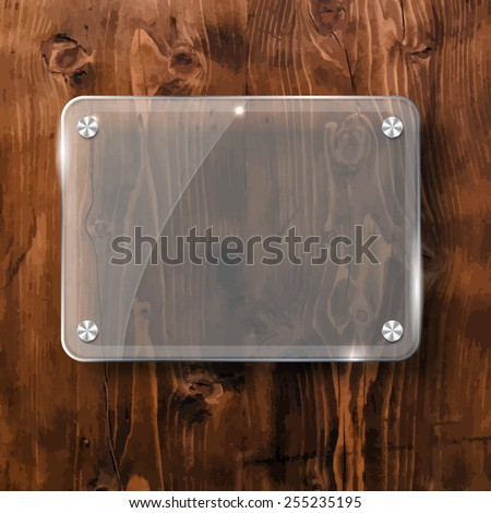 Glass plate on a wooden background for your advertising and design - stock vector
