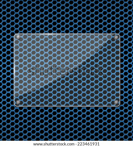 Glass plate on Blue aluminum Technology background with black hexagon perforated carbon speaker grill texture vector illustration - stock vector