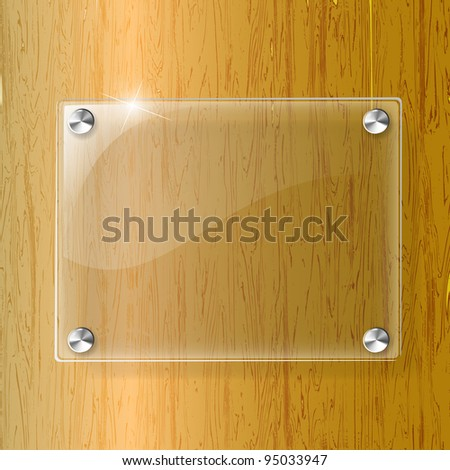 Glass plate on Wood background - Vector Illustration - stock vector