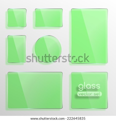 Glass plates set, square, rectangle and round in green color. Photo realistic vector illustration - stock vector