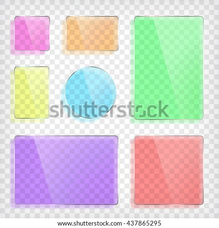Glass plates set. Square shape, rectangle and round. Colorful glass mock up. Transparent elements. Plastic banners with reflection and shadow. Photo realistic vector illustration - stock vector