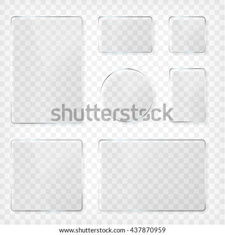 Glass plates set. Square shape, rectangle and round. See through mock up. Transparent elements. Plastic banners with reflection and shadow. Photo realistic vector illustration - stock vector