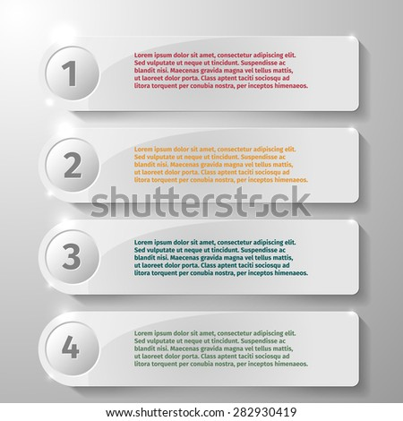 Glass rectangle elements for infographic, vector illustration - stock vector