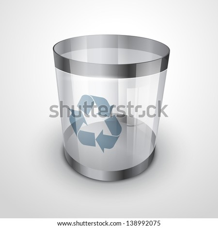 glass recycle bin vector icon - stock vector