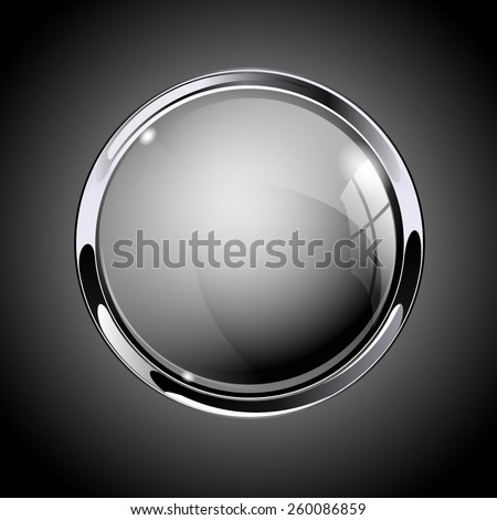 Glass round button, Gray  web  icon with metallic frame. Vector Illustration on dark background. - stock vector