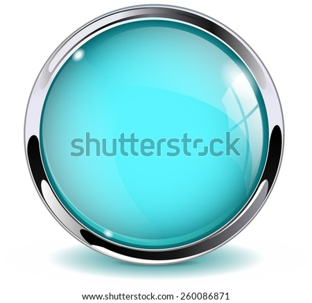 Glass round button, marine blue  web  icon with metallic frame. Vector Illustration isolated on white background. - stock vector