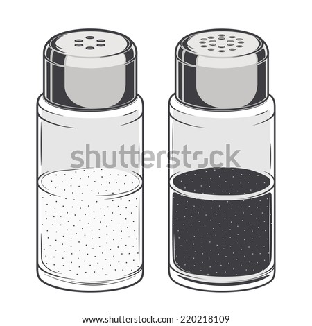 Glass salt and pepper shakers isolated on a white background. Color Line art. Retro design. Vector illustration. - stock vector