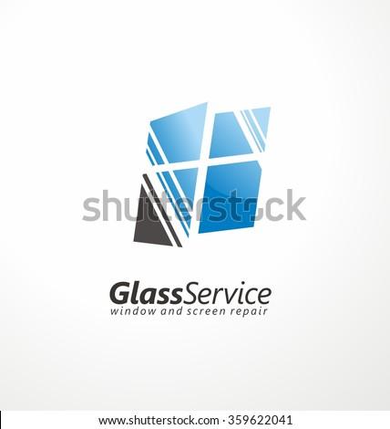 Glass service symbol layout. Windows and screens repair creative logo design concept.  - stock vector