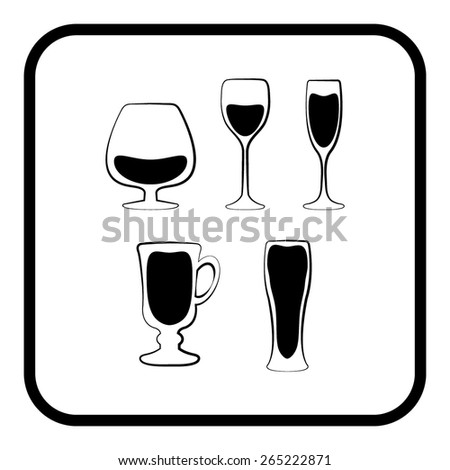 Glass set or collection - stock vector