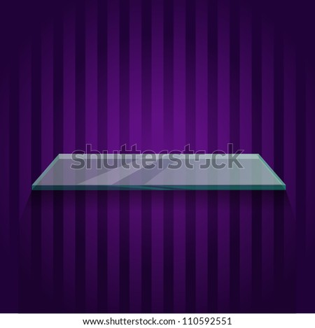 glass shelf on a purple background wallpaper - stock vector