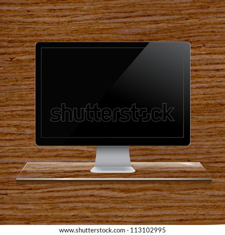 Glass Shelf With Computer, Wood Background, Vector Illustration - stock vector