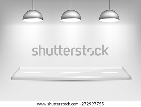 Glass Shelf with Lights - stock vector