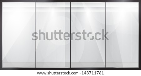 Glass showcase. Glossy feed products. Presentation. - stock vector