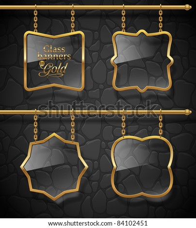Glass signboards in golden frames hanging on chains against a stone wall - vector illustration - stock vector