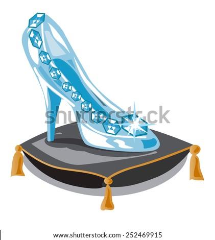Glass slipper on black pillow. Fashion background. Vector illustration. Beauty design element. Luxury shoes. - stock vector