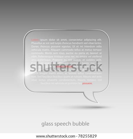 Glass speech bubble.Vector illustration. - stock vector