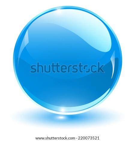 Glass sphere, blue vector ball.  - stock vector