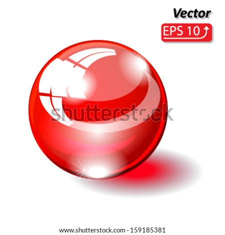glass sphere, glass ball red isolated on white background vector