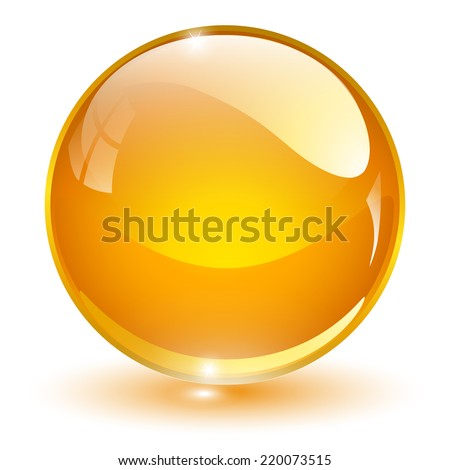 Glass sphere, orange vector ball.  - stock vector