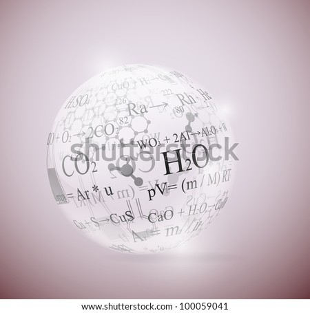 Glass sphere with chemical formulas. Eps 10 - stock vector