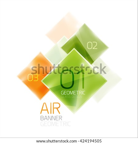 Glass square banner. Modern geometric design with light effects - stock vector