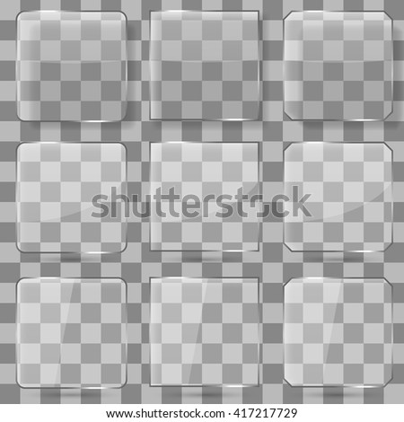 Glass square vector buttons for mobile applications. Glass frame glossy, transparent glass reflection illustration - stock vector