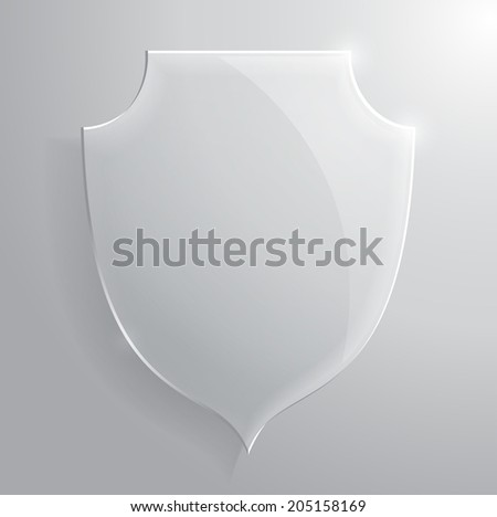 Glass transparent shield. Vector illustration. - stock vector