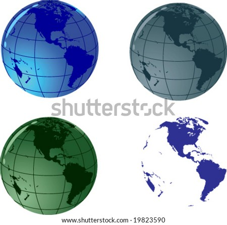 Glass vector globe; Only Vector elements, easy to edit;