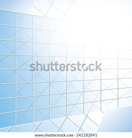 glass vector windows on blue facade - eps 10 - stock vector