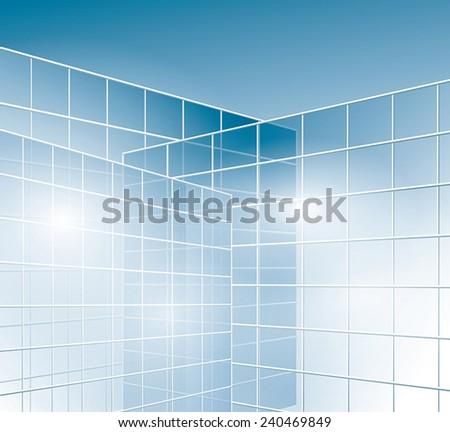 glass walls of buildings - windows - vector - eps 10 - stock vector
