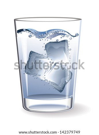 Glass water ice - stock vector