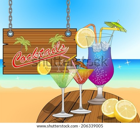 Glass with blue lagoon, green and red martini cocktails, ice cubes, straw, umbrella and lemon. retro sign for cocktail bar. In the background is the sea, beach and sky. vector art image illustration - stock vector
