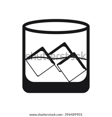 Glass with ice icon Vector Illustration on the white background. - stock vector