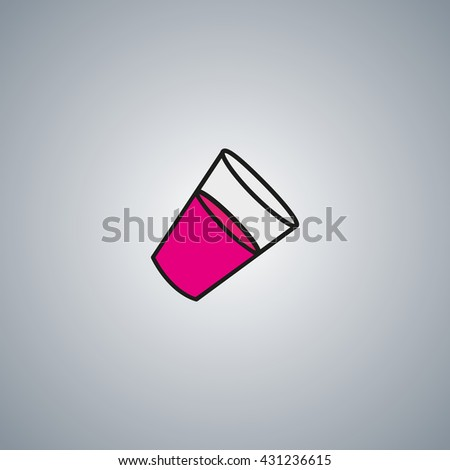 glass with juice icon. pink glass vector. - stock vector