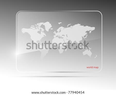Glass world map. Vector illustration. Eps10 - stock vector