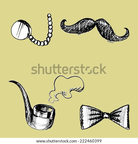 Glasses,a fake mustache, pipe, bow sketch vector isolates. - stock vector