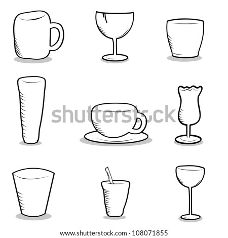 glasses and cups doodle objects