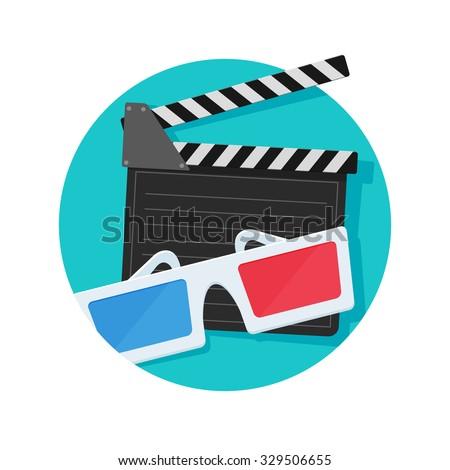 Glasses and film clapper icon - stock vector