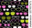 Glasses and sunglasses seamless pattern. Vector texture. - stock vector