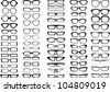 Glasses and sunglasses silhouettes collection - stock photo