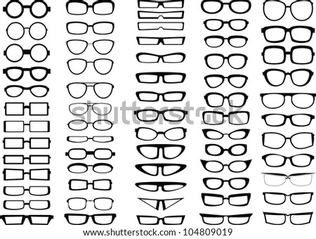 Glasses and sunglasses silhouettes collection