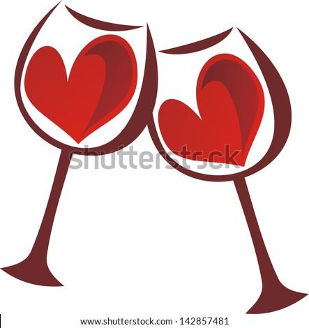 Glasses heart love vector illustration - stock vector