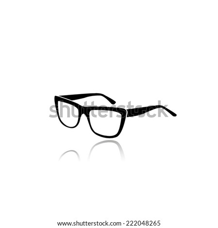 glasses icon - black vector illustration with reflection - stock vector